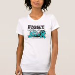 Lucha como una pintura de aerosol del chica - cánc camisetas