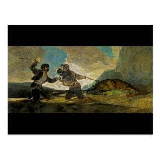 Lucha con los garrotes de Francisco Goya c 1820 Postales