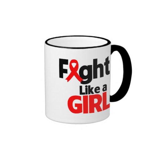 Lucha de AIDS/HIV como un chica Taza