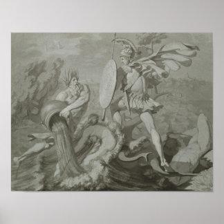 Lucha de Aquiles con el río Scamander Póster