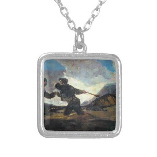 Lucha de Francisco Goya- con los garrotes Colgante Cuadrado