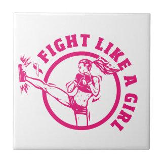 Lucha de Kickboxer como una teja del chica
