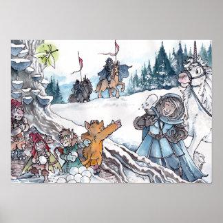 Lucha de la bola de nieve del Faery Posters