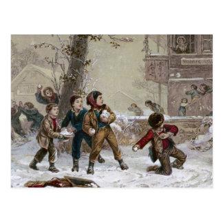 Lucha de la bola de nieve del navidad del postal