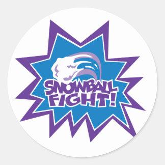 ¡Lucha de la bola de nieve! Pegatina Redonda