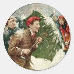 Lucha de la bola de nieve pegatina redonda