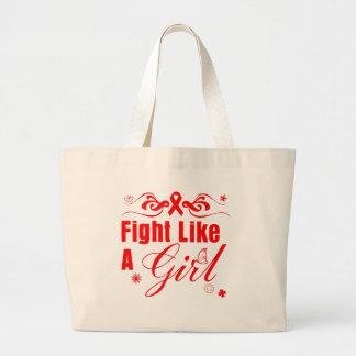 Lucha de la enfermedad cardíaca como un chica ador bolsa tela grande