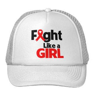 Lucha de la enfermedad cardíaca como un chica gorras de camionero