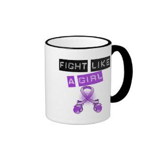 Lucha de la epilepsia como un chica tazas de café