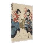 Lucha de la espada del samurai circa 1825 lona envuelta para galerias