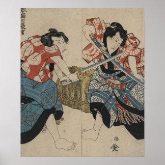 Lucha de la espada del samurai circa 1825 póster