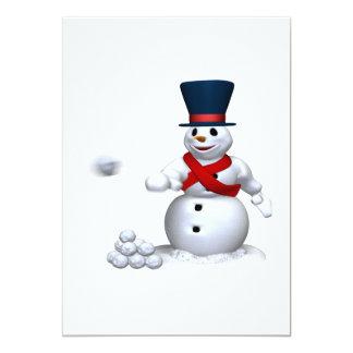 Lucha de la nieve del hombre de la nieve invitación 12,7 x 17,8 cm