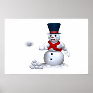 Lucha de la nieve del hombre de la nieve poster