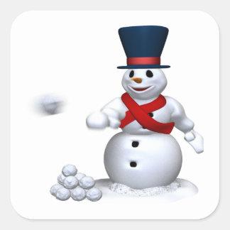 Lucha de la nieve del hombre de la nieve calcomanías cuadradass