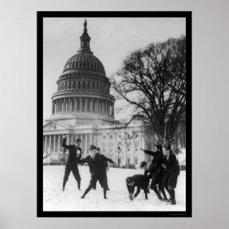 Lucha de la nieve en la capital Washington, DC 192 Póster