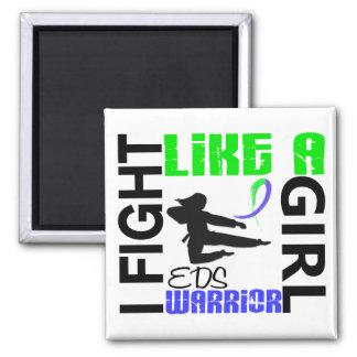Lucha de la silueta como un chica EDS 3 2 Imán De Frigorífico