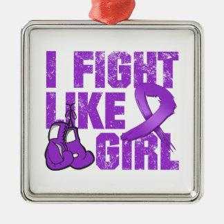 Lucha de Leiomyosarcoma I como un chica (Grunge) Adorno Cuadrado Plateado