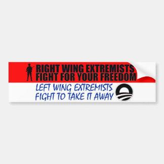 Lucha de los extremistas de la derecha para su lib etiqueta de parachoque