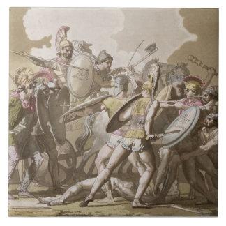 Lucha de los Griegos y de los Trojan sobre el cuer Azulejo Cuadrado Grande