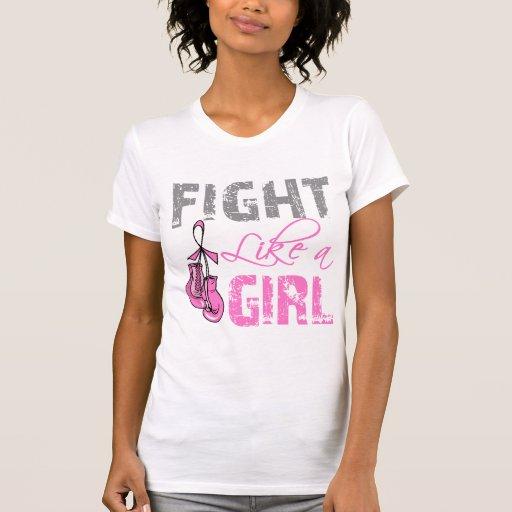 Lucha de los guantes de la cinta del cáncer de pec camisetas