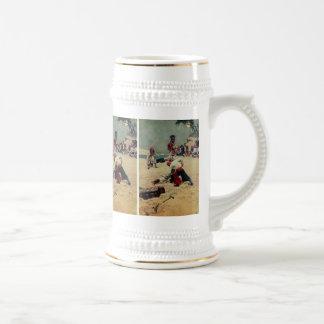 Lucha de los piratas sobre el tesoro jarra de cerveza