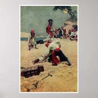 Lucha de los piratas sobre el tesoro póster