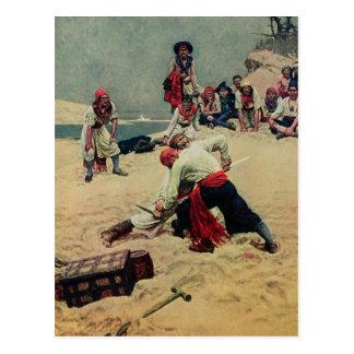 Lucha de los piratas sobre el tesoro tarjetas postales