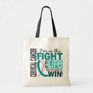 Lucha de mi cáncer de cuello del útero de la vida bolsa tela barata