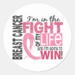 Lucha de mi cáncer de pecho de la vida etiqueta redonda