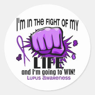 Lucha de mi lupus de la vida 2 pegatina redonda