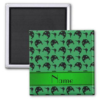 Lucha de sumo verde conocida personalizada imán cuadrado
