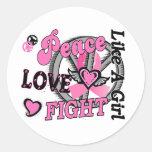 Lucha del amor de la paz como un cáncer de pecho d etiqueta