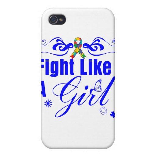 Lucha del autismo como un chica adornado iPhone 4 protectores