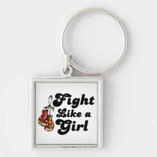Lucha del autismo como un lema del chica llavero personalizado