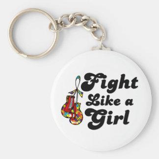Lucha del autismo como un lema del chica llaveros