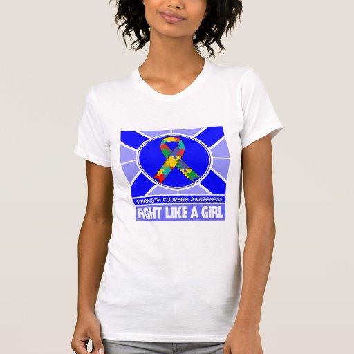 Lucha del autismo como una bandera del chica camiseta