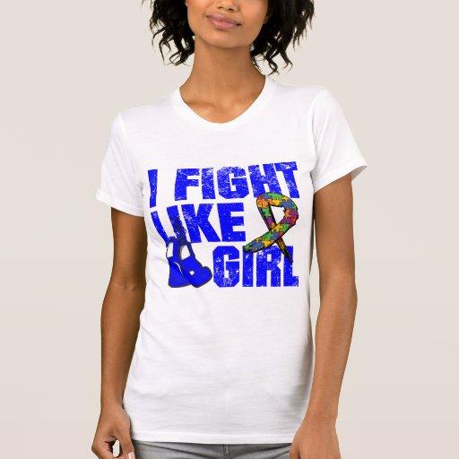 Lucha del autismo I como un chica (Grunge) Camisetas