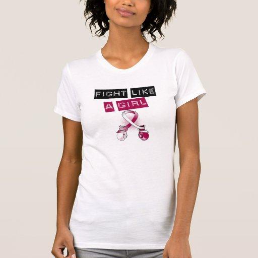 Lucha del cáncer de cabeza y cuello como un chica camisetas