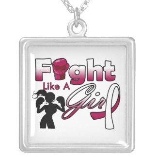 Lucha del cáncer de garganta como una silueta del collar personalizado