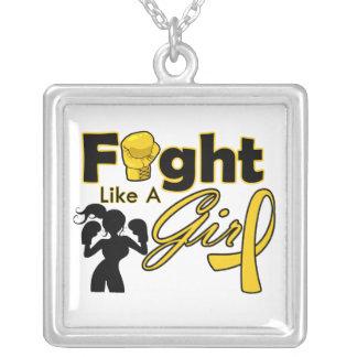 Lucha del cáncer de la niñez como una silueta del joyeria personalizada