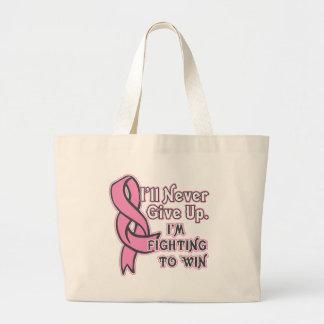 Lucha del cáncer de pecho a ganar bolsa tela grande