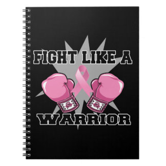 Lucha del cáncer de pecho como un guerrero libretas