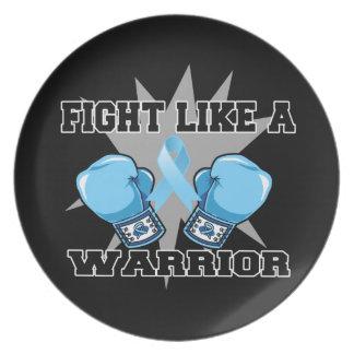 Lucha del cáncer de próstata como un guerrero platos de comidas