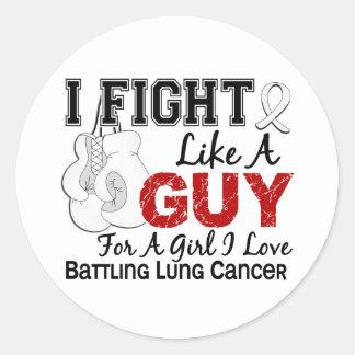 Lucha del cáncer de pulmón como un individuo 15 etiqueta redonda