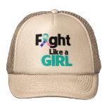 Lucha del cáncer de tiroides como un chica gorros bordados
