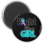 Lucha del cáncer de tiroides como un chica imán de nevera