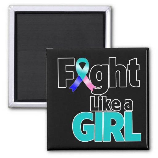 Lucha del cáncer de tiroides como un chica iman de nevera