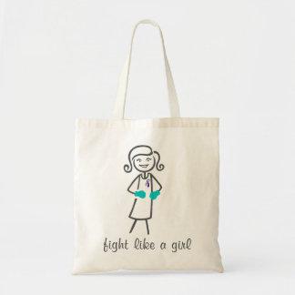 Lucha del cáncer de tiroides como un chica (retro) bolsa tela barata