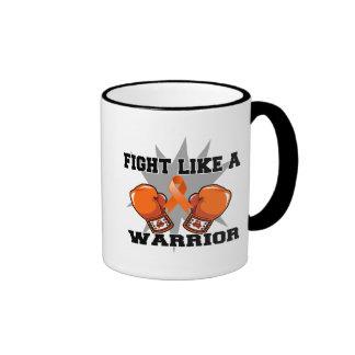 Lucha del cáncer del riñón como un guerrero v2 tazas de café