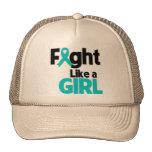 Lucha del cáncer ovárico como un chica gorro